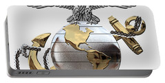U S M C Eagle Globe And Anchor - C O And Warrant Officer E G A Over White Leather Portable Battery Charger