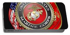 U. S. Marine Corps U S M C Emblem On Black Portable Battery Charger