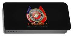 U. S. Marine Corps U S M C Emblem On Black Portable Battery Charger by Serge Averbukh