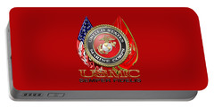 U. S. Marine Corps U S M C Emblem On Red Portable Battery Charger by Serge Averbukh