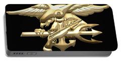 U. S. Navy S E A Ls Emblem On Black Velvet Portable Battery Charger