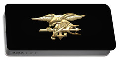 U. S. Navy S E A Ls Emblem On Black Velvet Portable Battery Charger
