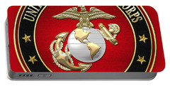 U S M C Eagle Globe And Anchor - E G A On Red Velvet Portable Battery Charger