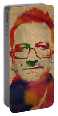 U2 Bono Watercolor Portrait Portable Battery Charger