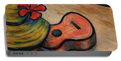 Portable Battery Charger featuring the painting Ukulele And Hibiscus Flower On  A Hawaii Beach by Xueling Zou