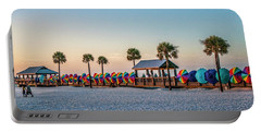 Portable Battery Charger featuring the photograph Umbrella Windbreaks At Clearwater Florida. by Brian Tarr
