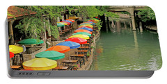 Portable Battery Charger featuring the photograph Umbrellas Along River Walk - San Antonio by Art Block Collections