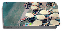 Portable Battery Charger featuring the photograph Umbrellas On The Beach - Nerja by Mary Machare