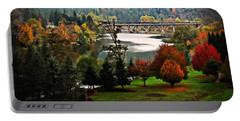 Umpqua Bridge In The Fall Portable Battery Charger by Katie Wing Vigil