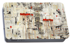 Portable Battery Charger featuring the painting Un Pour Tous by Carmen Guedez