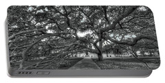 Under The Century Tree - Black And White Portable Battery Charger
