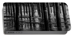 Under The Pier - Black And White Portable Battery Charger