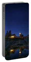 Under The Stars At Pemaquid Point Portable Battery Charger by Rick Berk