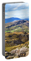 Undulating Green, Purple And Yellow Rocky Landscape In  Ireland Portable Battery Charger by Semmick Photo