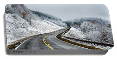 Unexpected Autumn Snow Highway Portable Battery Charger by Thomas R Fletcher