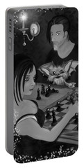 Unexpected Company - Black And White Fantasy Art Portable Battery Charger