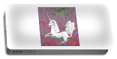 Unicorn In A Red Tapestry Portable Battery Charger