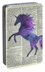 Unicorn In Space Portable Battery Charger by Jacob Kuch