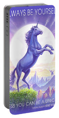 Unicorn Moon Ravens Portable Battery Charger by Steve Crisp
