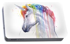 Unicorn Rainbow Watercolor Portable Battery Charger by Olga Shvartsur