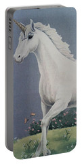 Unicorn Roaming The Grass And Flowers Portable Battery Charger