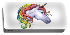 Unicorn With Rainbow Mane Portable Battery Charger