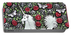 Portable Battery Charger featuring the digital art Unicorn With Red Roses And Butterflies by Lise Winne