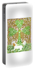 Portable Battery Charger featuring the drawing Unicorn With Shamrock by Lise Winne