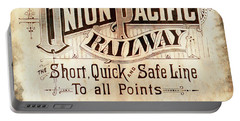 Portable Battery Charger featuring the mixed media Union Pacific Railroad - Gateway To The West  1883 by Daniel Hagerman