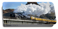 Union Pacific Steam Engine 844 And Castle Rock Portable Battery Charger by Eric Nielsen