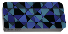 Portable Battery Charger featuring the digital art Unique Bold Hip Blue Cyan Grey Black Geometric Pattern by Shelley Neff