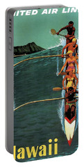 United Air Lines To Hawaii - Riding With Outrigger - Retro Travel Poster - Vintage Poster Portable Battery Charger