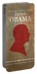 United States Of America President Barack Obama Facts Portrait And Quote Poster Series Number 44 Portable Battery Charger by Design Turnpike