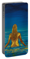 Portable Battery Charger featuring the painting Unmasking Series 1 by Leslie Allen