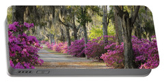 Unpaved Road With Azaleas And Oaks Portable Battery Charger