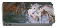 Portable Battery Charger featuring the painting Unspoken Persuasion by Karen Kennedy Chatham