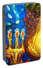 Portable Battery Charger featuring the painting Still Life With Grapes And Pomegranates by Rae Chichilnitsky