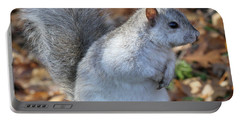 Portable Battery Charger featuring the photograph Unusual White And Gray Squirrel by Doris Potter