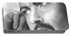 Portable Battery Charger featuring the painting  Up Close George Michael  Black White by Patrice Torrillo
