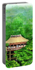 Portable Battery Charger featuring the painting Up High Temple by Yoshiko Mishina