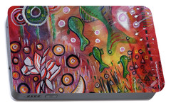 Portable Battery Charger featuring the mixed media Up We Go  by Mimulux patricia no No