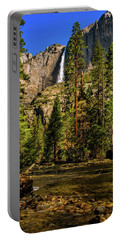 Portable Battery Charger featuring the photograph Upper Yosemite Falls From Yosemite Creek by John Hight