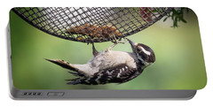 Upside Down Downy Woodpecker Portable Battery Charger