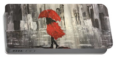 Urban Walk In The Rain Portable Battery Charger by Lucia Grilletto