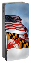 Us And Maryland Flags Portable Battery Charger