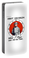 Portable Battery Charger featuring the painting Us Army First Division - Ww1 by War Is Hell Store