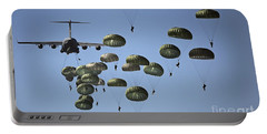 U.s. Army Paratroopers Jumping Portable Battery Charger by Stocktrek Images