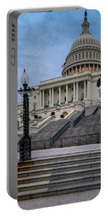 Portable Battery Charger featuring the photograph Us Capitol Building Twilight by Susan Candelario