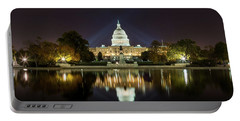 Us Capitol Night Panorama Portable Battery Charger