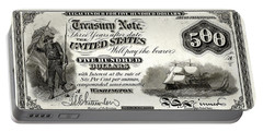 Portable Battery Charger featuring the digital art U.s. Five Hundred Dollar Bill - 1864 $500 Usd Treasury Note  by Serge Averbukh